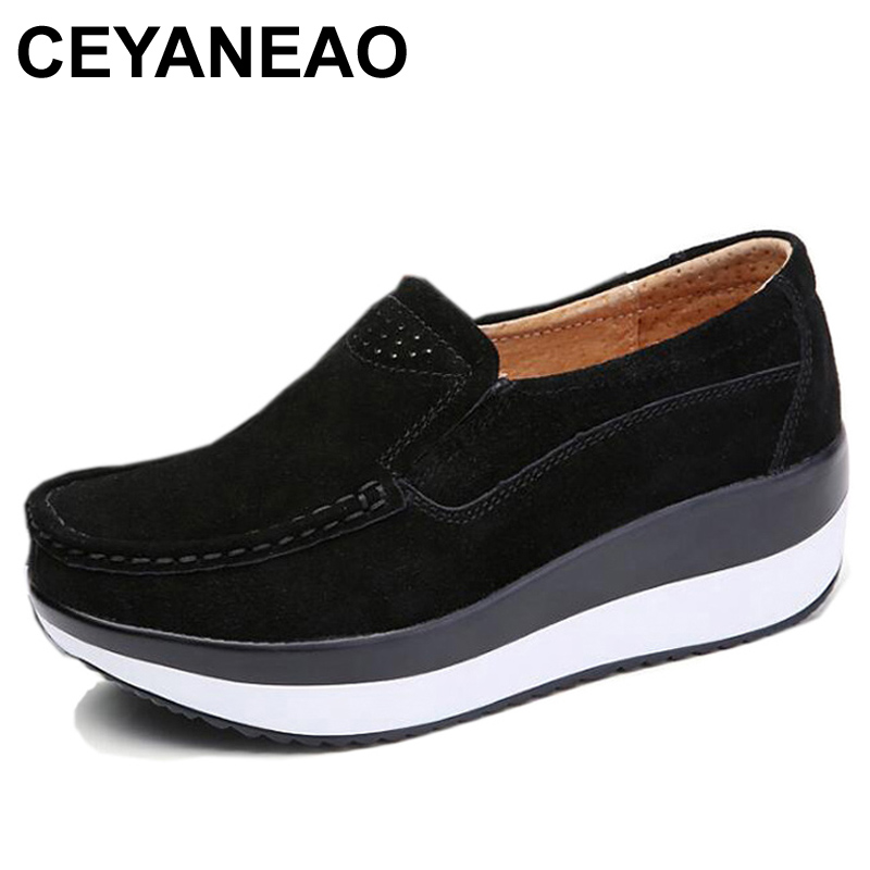 CEYANEAO2018 Spring Shoes Cow   Suede     Leather   Flat Platform Women Shoes Slip On Women's Loafers Thick Soled Female Shoe E1215