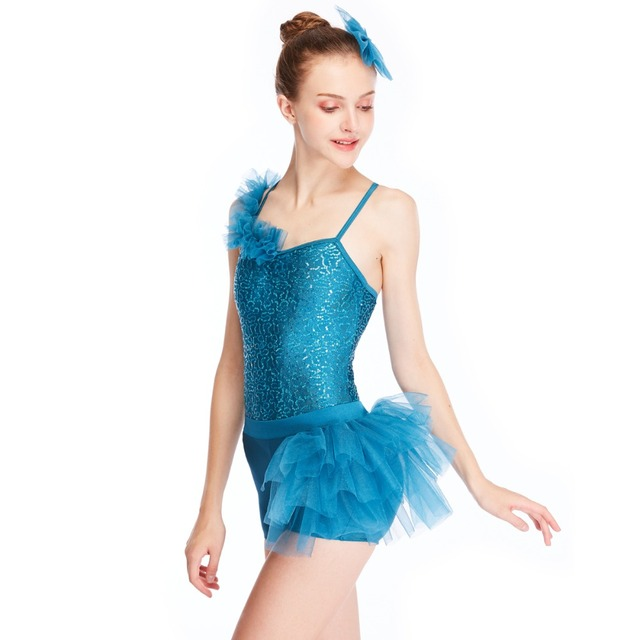 1ae44adf8 MiDee One Shoulder Sequins Leotard with Side Subtle Shorts Jazz Acrobat Dance  Outfit Dance Costumes Wear 2 Pieces for Sales