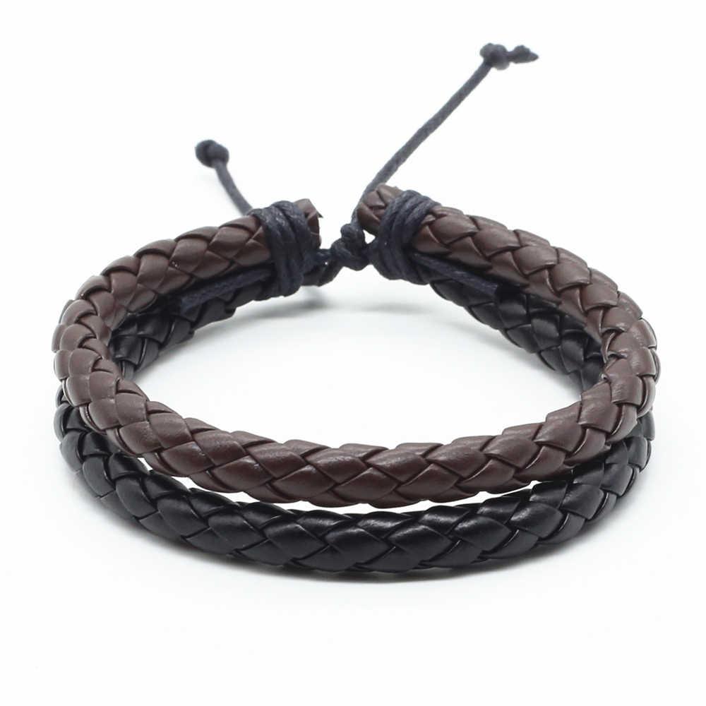 New Handmade Trendy Friends Boho Leather Weave Wrap Homme Men Bracelets for Women Jewellery Pulseras Erkek Bileklik Bijoux 2019