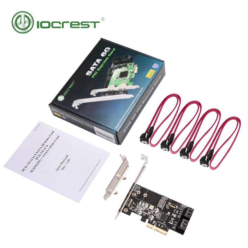 Купить с кэшбэком IOCREST Internal 4 Port Non-Raid SATA III 6GB/S with M.2 B-Key 22x42 Pci-E X4 Controller Card for Desktop PC Support SSD and HDD
