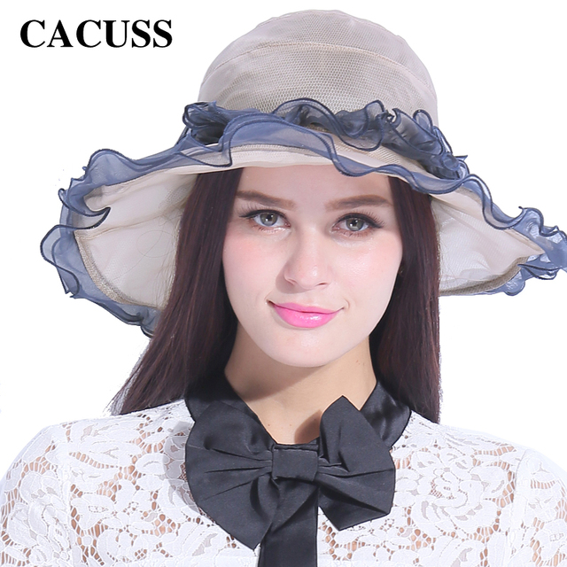 CACUSS Luxury Silk Caps For Women Sun Hats Spring Summer Elegant Flounce  Beach Hat For Girls Party Fedoras Designer 6b8a6134e0e