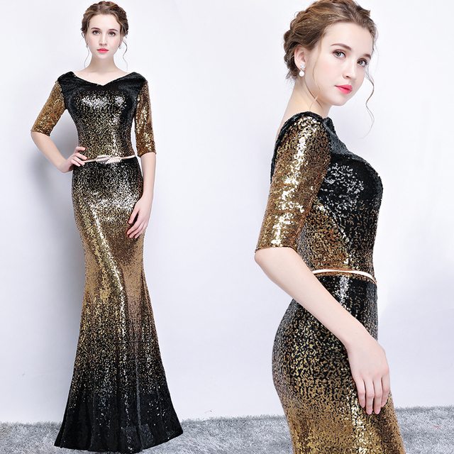 New arrival sequines black floor length v neck lady girl women princess bridesmaid banquet party ball dress gown