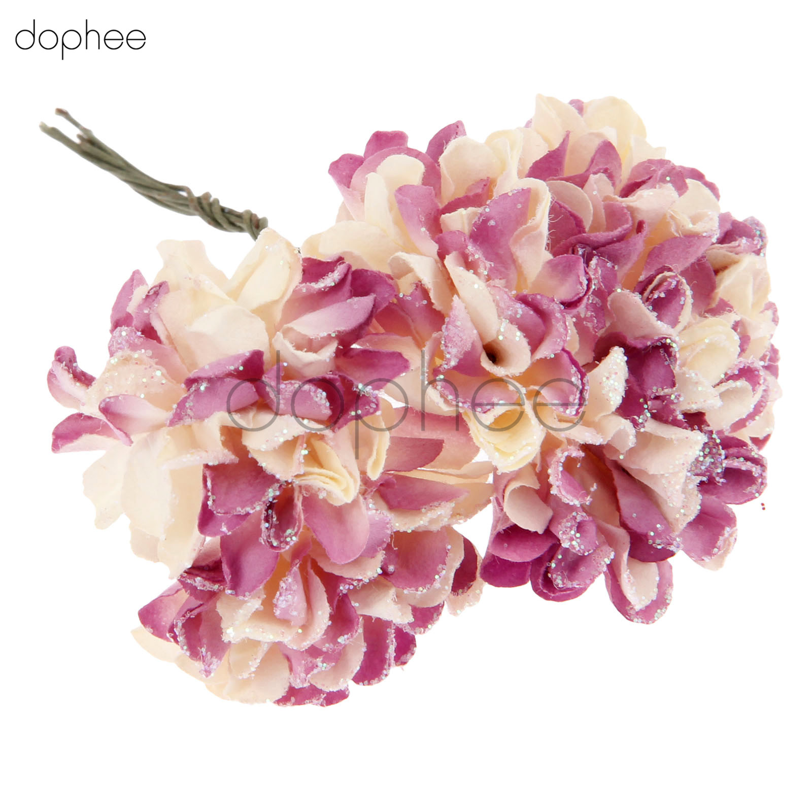 Dophee 144pcs Glittered Artificial Carnations Handmade Mulberry Paper Flowers For Scrapbooking Wedding Cardmaking In Artificial Dried Flowers From