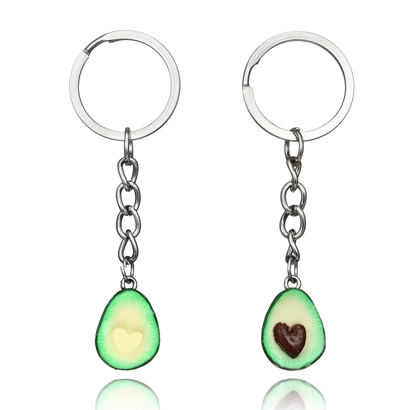 2019 New Simulation Fruit Avocado Heart-shaped Keychain Fashion Jewelry  Keyrings Best Friend S BFF
