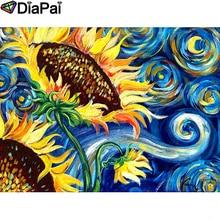 DIAPAI Diamond Painting 5D DIY 100% Full Square/Round Drill Sunflower flower Diamond Embroidery Cross Stitch 3D Decor A18512 diapai 100% full square round drill 5d diy diamond painting flower landscape diamond embroidery cross stitch 3d decor a21095