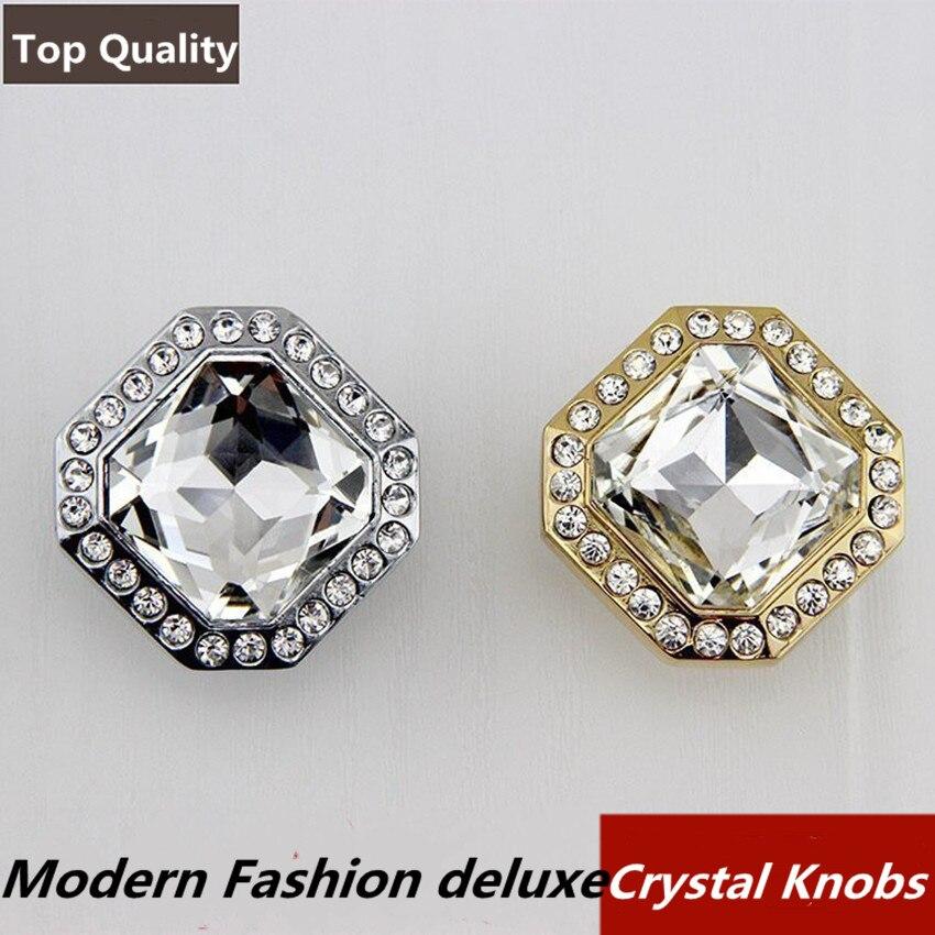 modern fashion deluxe rhinestone drawer tv cabinet knobs pulls golden silver k9 crystal wine cabinet cupboard door handles knobs