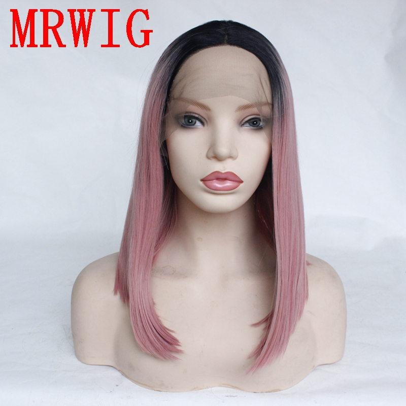 MRWIG 10-16in Short Bob Style Straight Dark Roots Ombre Pink Synthetic Glueless Front Lace Wig Middle Part