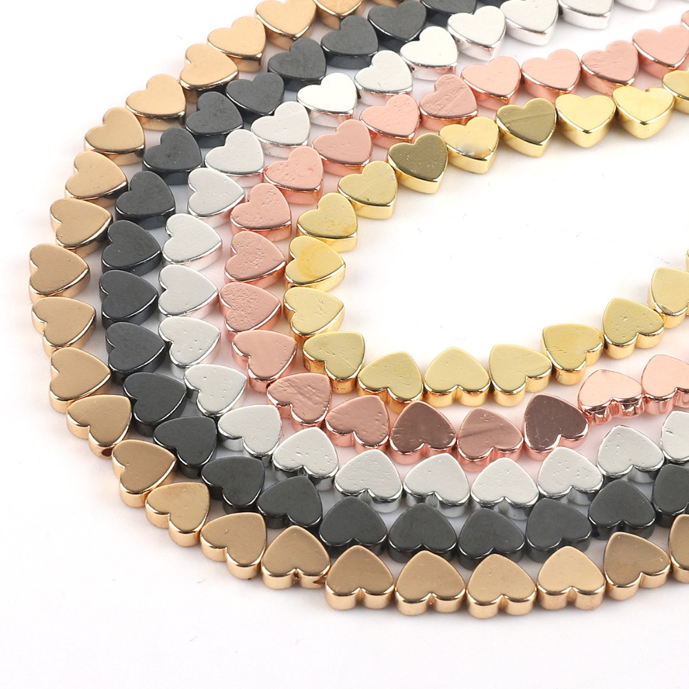 67pcs 5x6mm Natural Black Rose Gold Hematite Bead Love Heart Loose Stone Beads for Jewelry Making DIY Necklace Bracelet