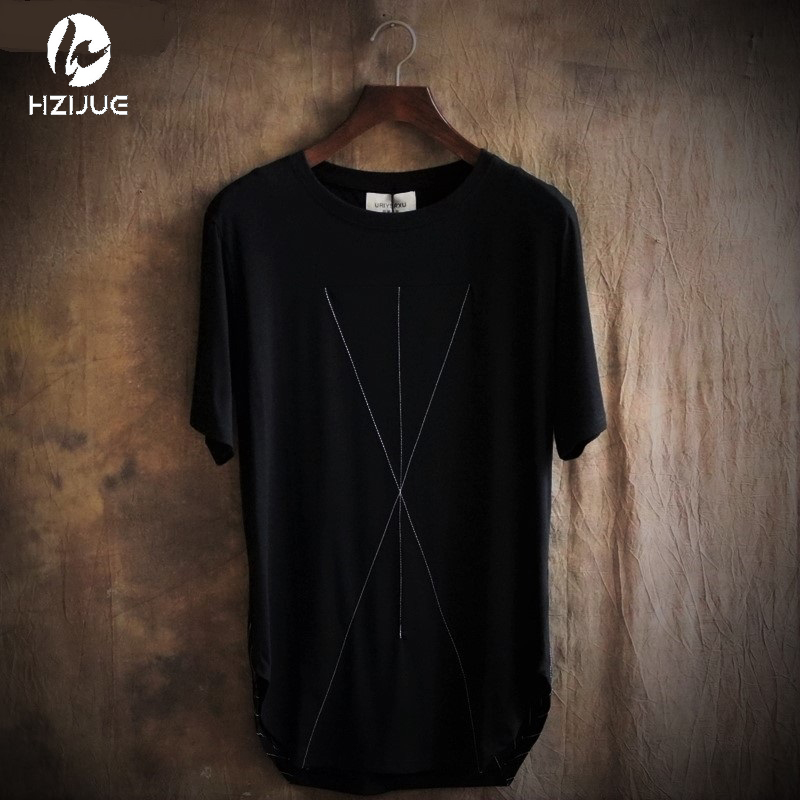 T shirt men kanye embroidery long oversized