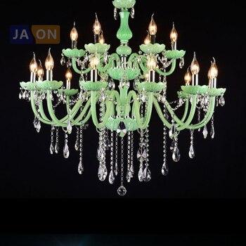LED E14 Eropa Besi Kaca Kristal Hijau Lampu Gantung Lampu Lamparas De Techo Suspensi Luminer Lampen untuk Foyer