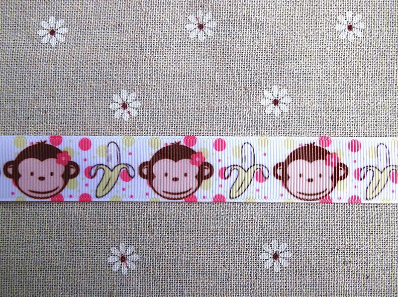 2013 Новое поступление 7/8 ''(22 мм) обезьяна банан печатная корсажная лента мультфильм животных Лента Мальчики лента оптовые 50 ярдов