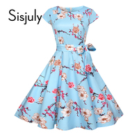 Sisjuly Vintage Dress Summer A Line Floral Lace Up Bow Moderate Trumpet Pullover Cap Sleeve Round