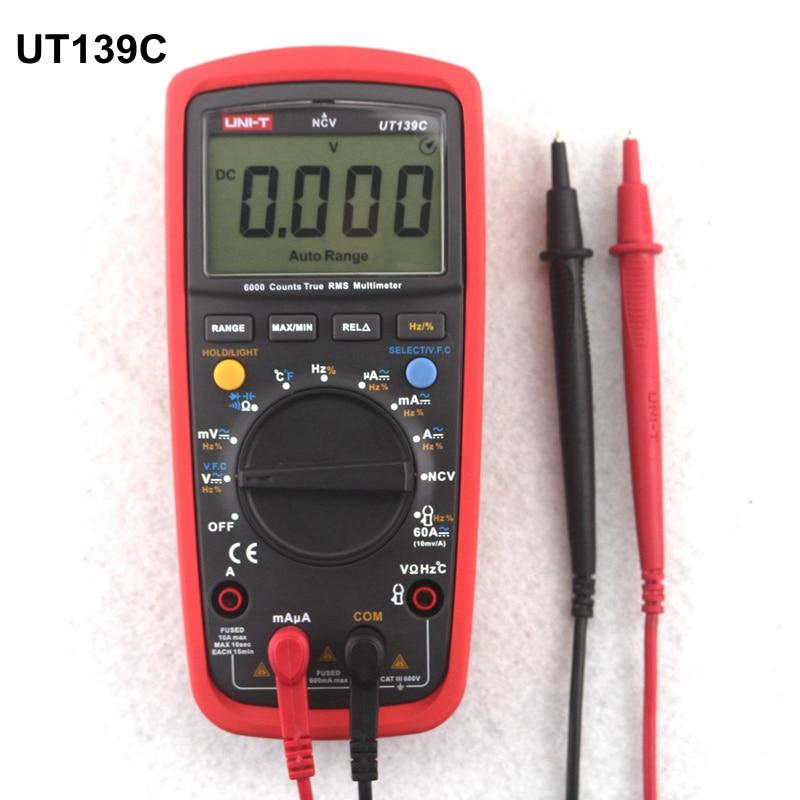 UNI-T UT139C Digital Auto Range Multimeter True RMS AC/DC Voltmeter Ammeter C/F temperature Tester Multi Meter uni t ut210e digital multimeter true rms clamp meter ac dc voltmeter ammeter resistance capacitance tester data hold