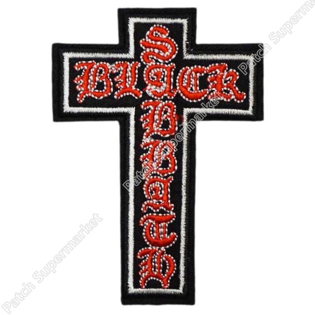 black sabbath crucifix logo music band embroidered new iron on and rh aliexpress com Thrash Metal Band Logos Glam Metal Band Logos