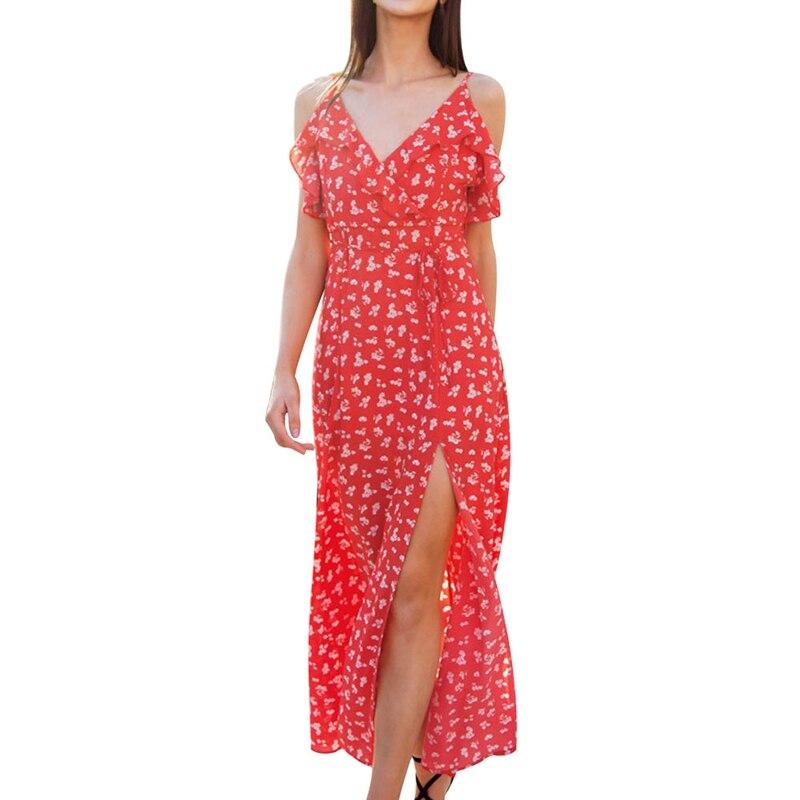 New Backless V Neck Ruffles Sexy Women High Waist Split Long Dress Summer Beach Maxi Dress Boho Print Dresses Vestidos