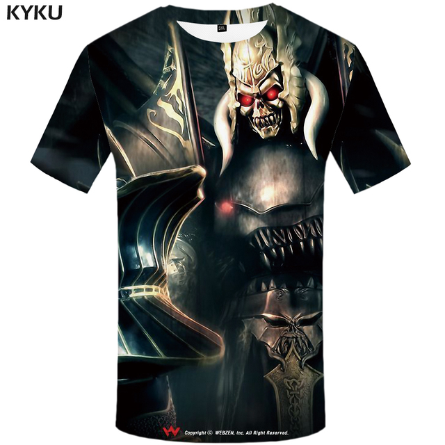 d3d3c7d4bb8d5 KYKU Grim Reaper T Shirt Men Black Skull T-shirt Punk Rock Clothes Metal  Military
