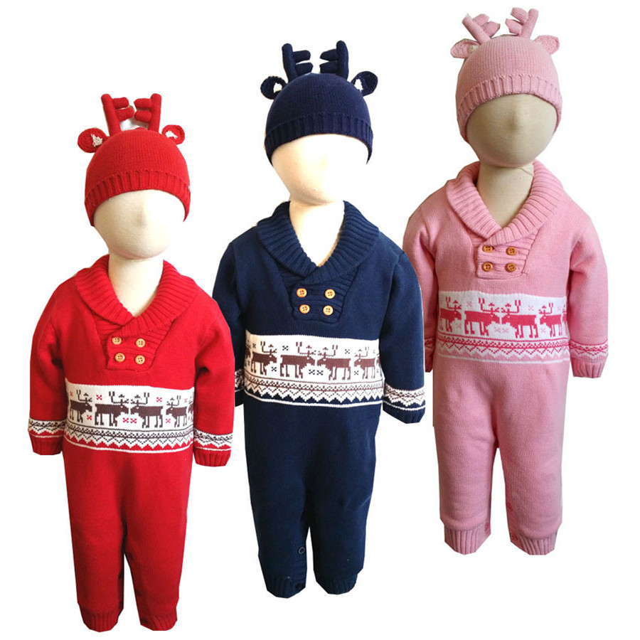 2017 Winter christmas cartoon elk sweater baby boys girls wool thicking rompers hat 2pcs newborn warm jumpers stuff goods 17S907 skullies beanies newborn cute winter kids baby hats knitted pom pom hat wool hemming hat drop shipping high quality s30