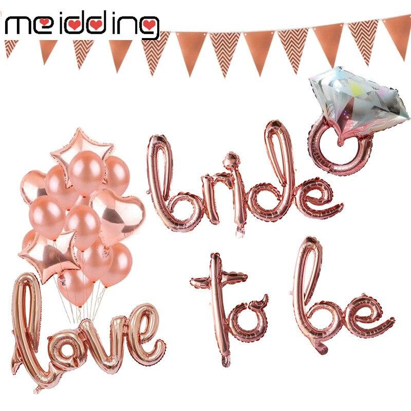 MEIDDING Rose Gold Bride Script Balloons Wedding Bridal Shower Foil Hen Bachelorette Party Decoration Supplies