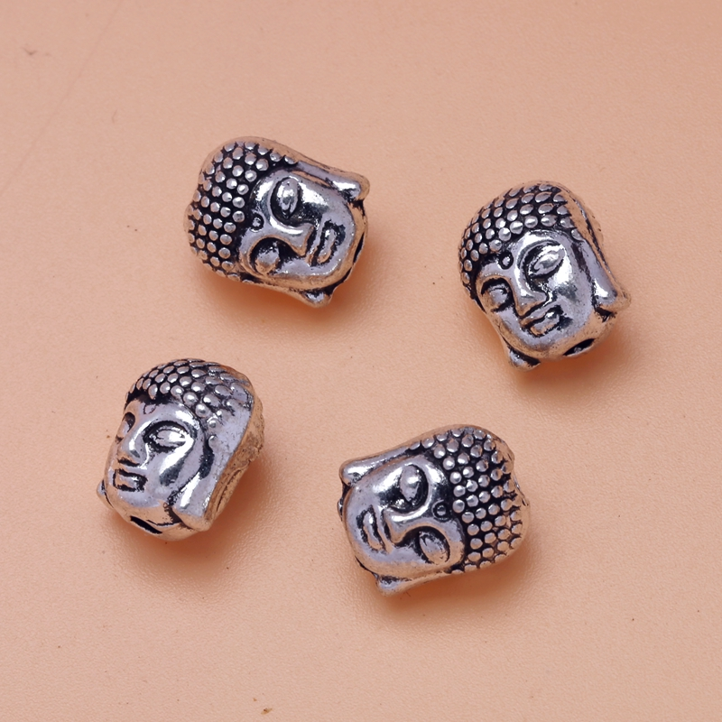Antiqued Silvery Alloy Buddha head Goddess of Mercy Buddha Beads Beaded Gasket Jewelry Accessories Components 11X8mm S8284