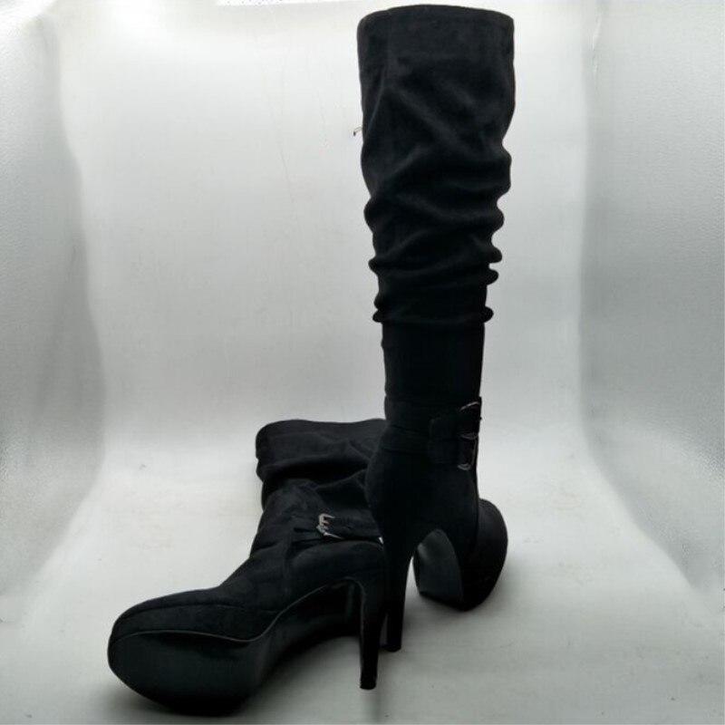 54655a985 Sapatos SHOFOO. Elegante moda frete grátis, camurça preta, 12.5 cm botas de  salto alto, over the knee boots. TAMANHO: 34 45 em Botas acima do joelho de  ...