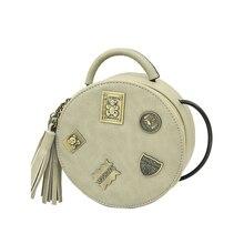 Nubuck MINI Round Bag 2016 New Fashion Tassels Shoulder Bag Metal Cartoon Letters Ornament Women Fashion Casual Crossbody