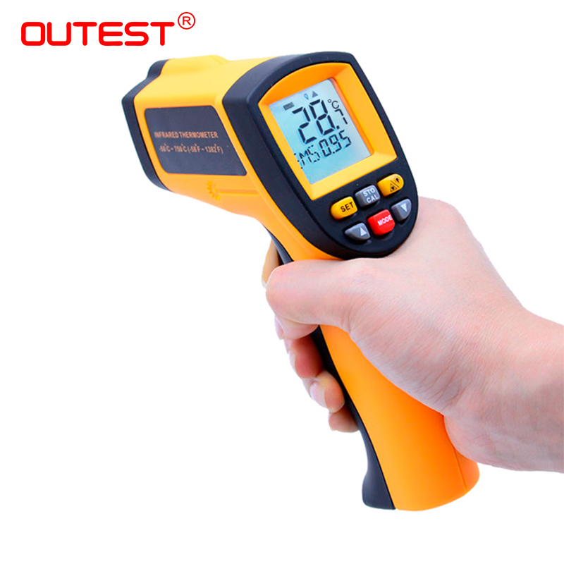 купить OUTEST Digital Thermometer Gun Non Contact Infrared Thermometer Temperature Gun ir Thermometer Industrial GM320~GM900900 по цене 564.38 рублей