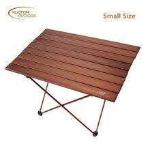 YUETOR открытый горячий маленький размер ультра-светильник портативный складной стол Кемпинг Открытый Пикник алюминиевый сплав коричневый