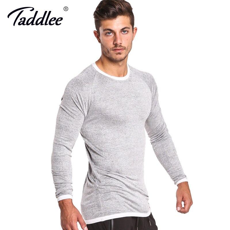 d3f276693 Taddlee Brand Long Sleeve T Shirt Men Solid Color Soft O Neck Sweatshirt  Basic Active Stretch Apparel Hip Hop Street Casual Top