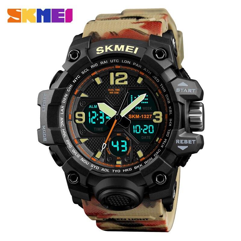 SKMEI Men Fashion Causal Watch Dual display Watches Men Waterproof 2 Time Alarm Wristwatches relogio masculino erkek kol saati