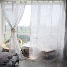 ZHH cortinas acabadas Euro Pastoral Crochet hueco dormitorio cortina Simple salón cortinas de habitación de algodón de lino ventana decoración de cortinas