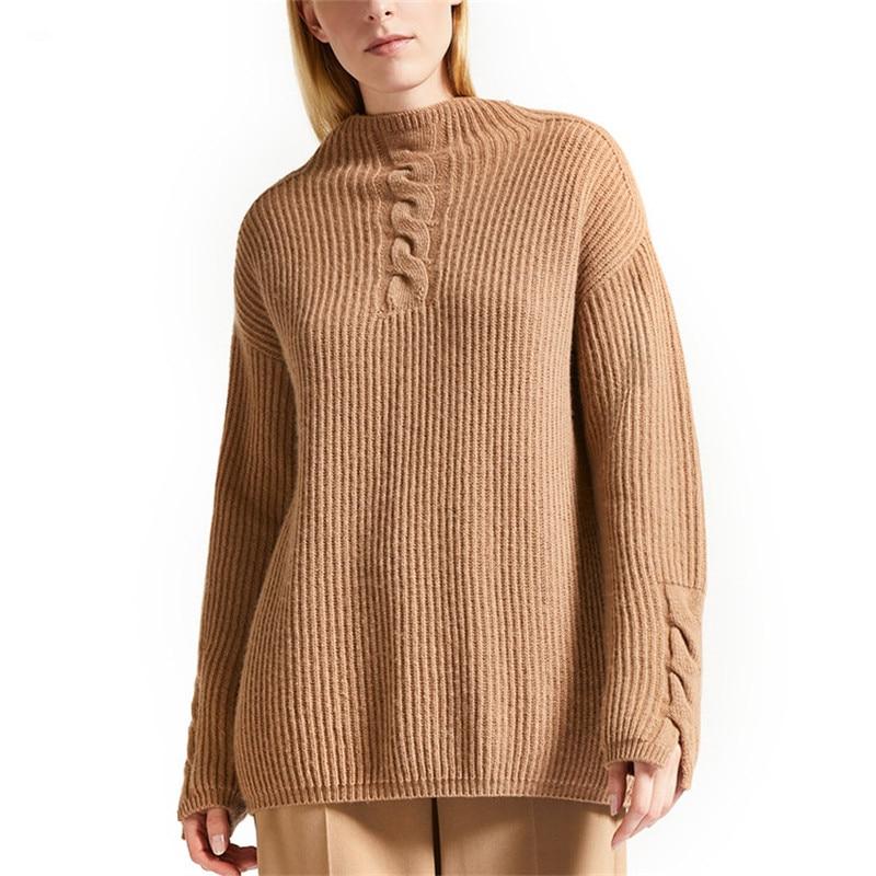 Laine M Tricot Large Mélange Tordu Haut Chandail Lâche Mode Col Pull Couleur Femmes De Cachemire Solide l Demi f7b6gy