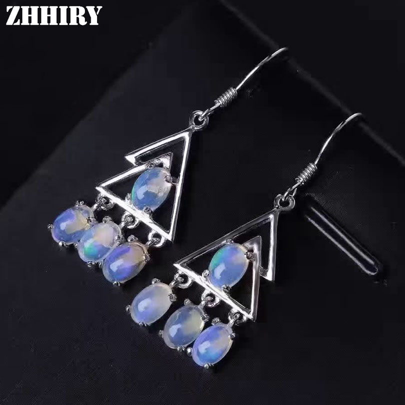 Women Natural Color Opal Gem Stone Drop Earrings Eardrop Genuine 925 Sterling Silver Fine Jewelry ZHHIRY 1 pair water drop shape opal crystal earrings dangle earrings gem stone jewelry druzy er307