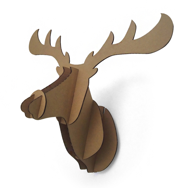 3d Puzzle Deer Head Wall Mount DIY Cardboard Animal Moose Head Wall  Decoration Hanging Assemble Elk