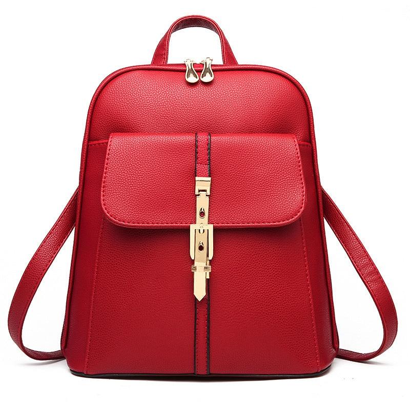 ФОТО High Quality Red PU Pratical Women Backpacks Zipper Schoolbag Casual Traveling Bag