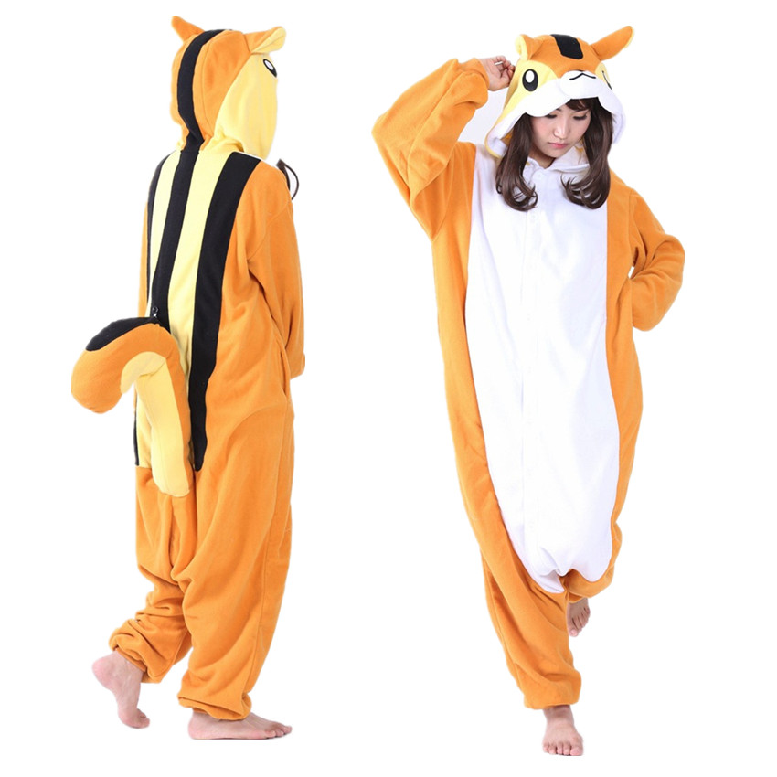 Squirrel Onesie Adult Heren en Dames Halloween Kerst Carnaval Feest Fleece Unisex Kostuums Jumpsuit