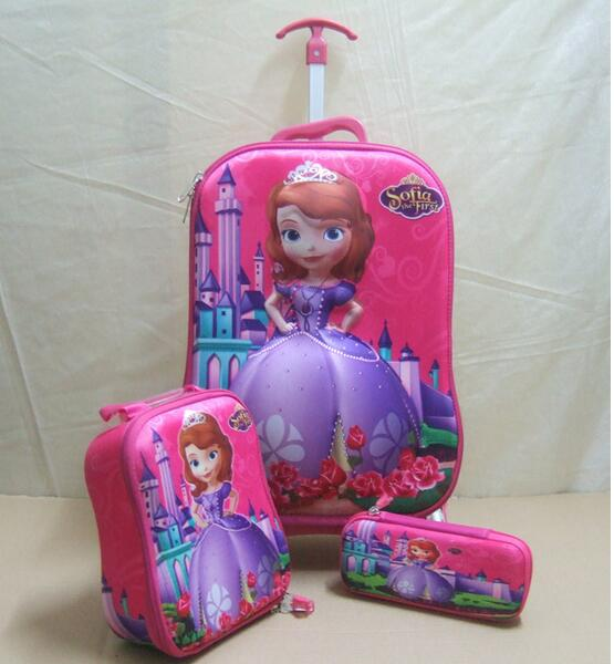 Children pull rod box 3D trolley school bag with lunch & pencil bag of ice and snow princess rod bag 3 PCS in 1 set