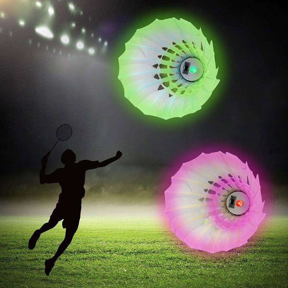 4 Pcs LED Badminton Shuttlecocks Lighting Birdies Shuttlecock Glowing Badminton For Outdoor Sports KH889