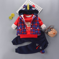 baby boys Clothes Sets Winter birthday outfits For Boy Child Cloth kids Sport Suit Wear Cotton Warm Fleece Hoody Vest 1 2 3years