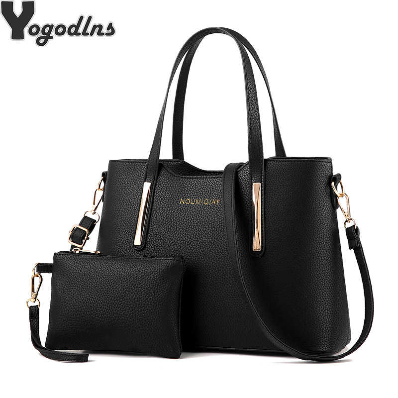 4002758598b5 Detail Feedback Questions about 2019 Handbags Fashion Shoulder Tote Bag Two  Piece Messenger Bag Retro Shoulder Mother Bag solid pu leather on  Aliexpress.com ...