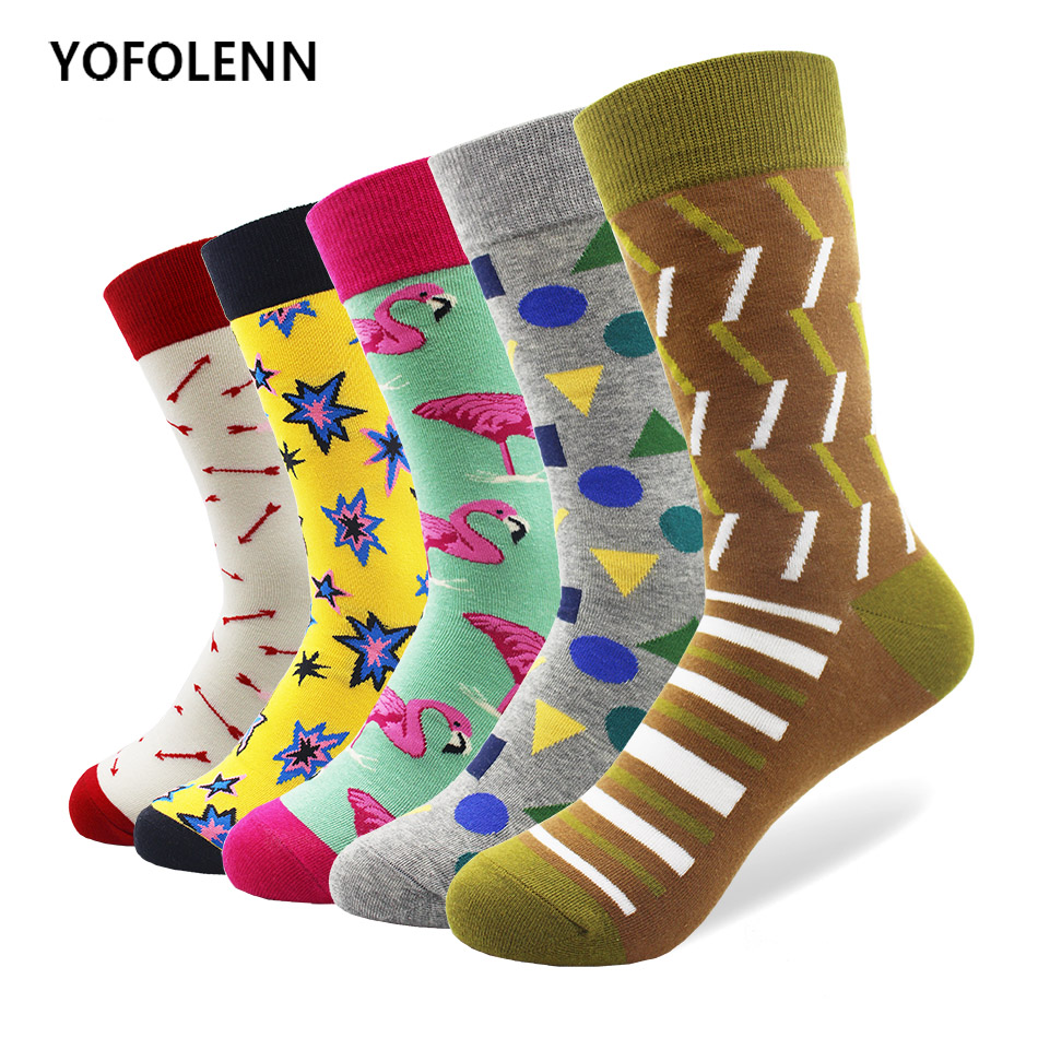 5 Pairs/lot Mens Funny Pattern Combed Cotton Socks Casual Crew Skateboard Socks For Man Long Business Dress Socks Wedding Gift