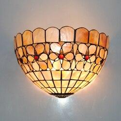Styl barokowy Tiffany kinkiety ścienne E26/E27 żarówka ściana kinkiet klasyczny europejski witraże szklane światło ścienne oprawy oświetleniowe WL273