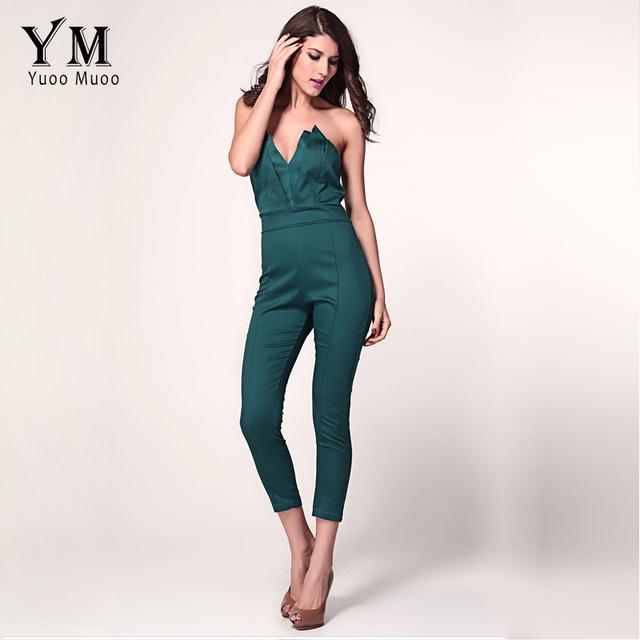 YuooMuoo S-XXL Novo Designer Da Marca Mulheres Macacão Senhoras Elegantes Bodycon Jumpsuit Strapless Decote Em V Sexy Macacão para As Mulheres de Fitness