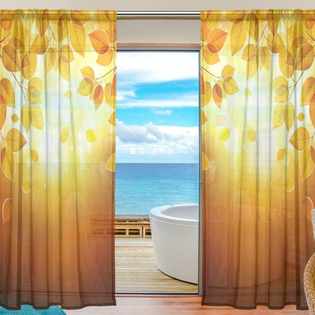 2 Pieces Custom Curtain Home Decor Autumn Maple Leaf Sheer Photo Paint Yellow Leaves Window