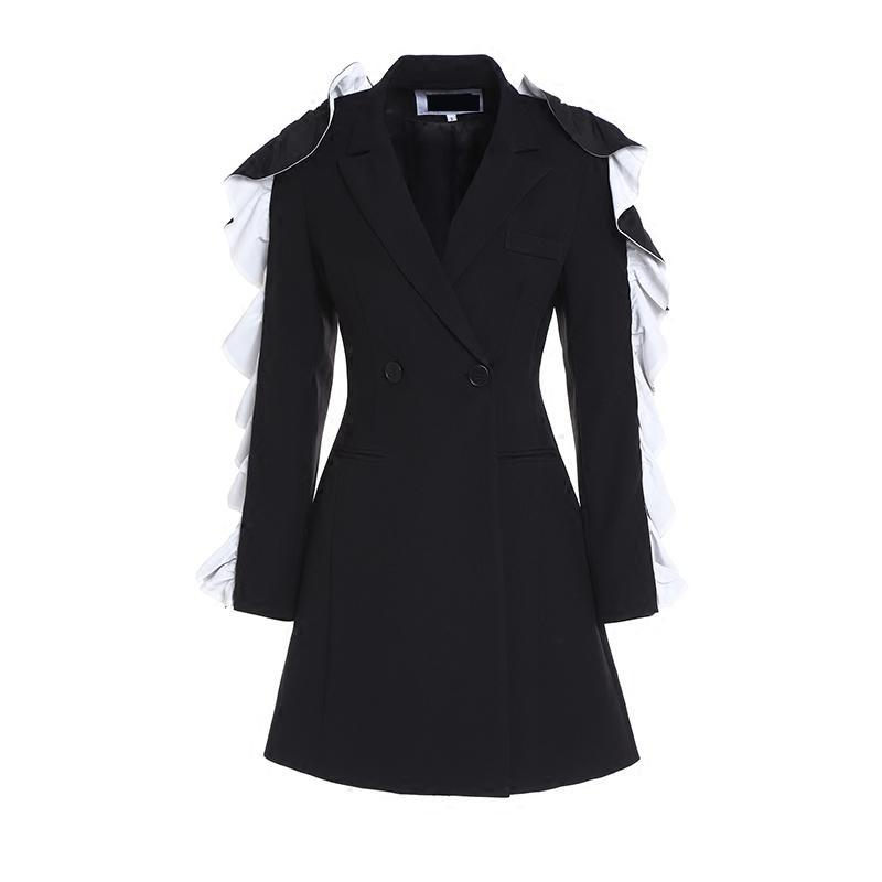 GETSRING Womens Blazers Long Sleeve Double Breasted Blazer Women Agaric Edge Black White Patchwork Slim Suit Women 2018 Autumn
