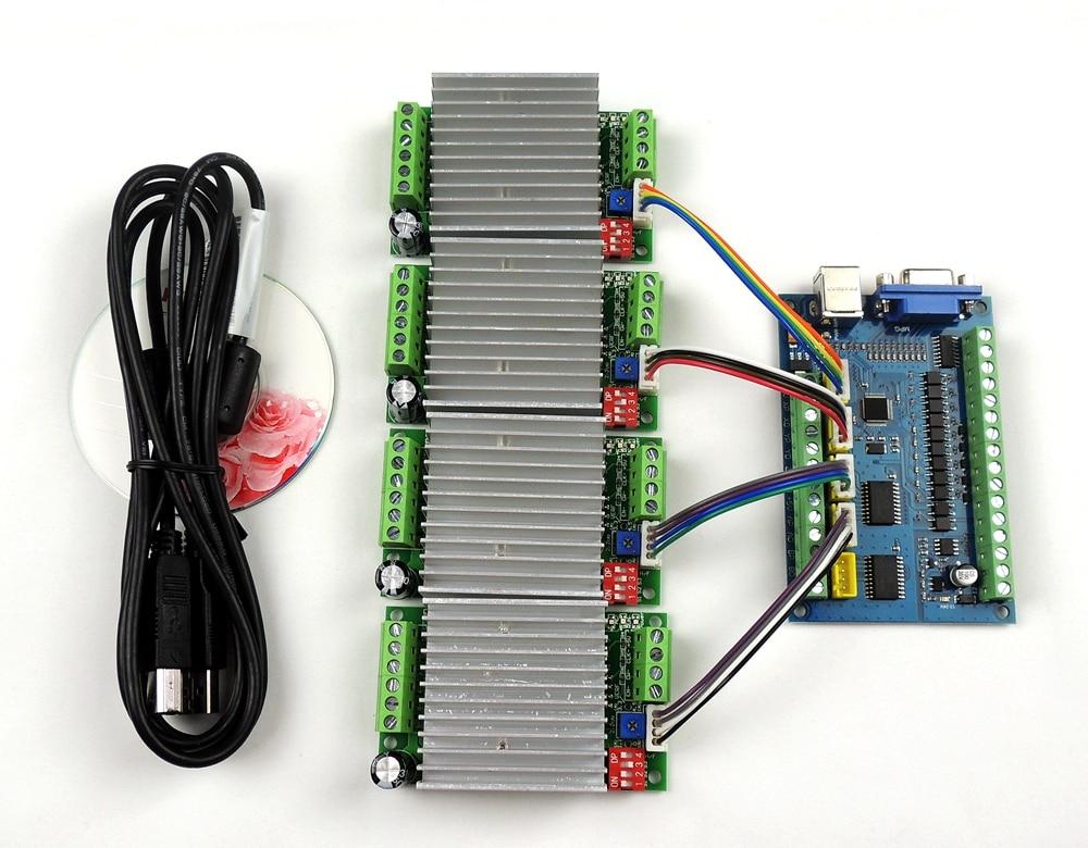 MACH3 USB CNC de 5 ejes 100 kHz suave paso a paso tarjeta de Control de movimiento de placa de adaptación + 4 unids TB6600 1 eje 4.5A controlador de Motor paso a paso de la Junta