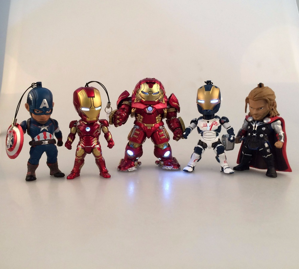 Movie Figure 9 CM 5PCS/SET Age of Ultron Iron Man Hulkbuster Thor Captain America PVC Action Figures with LED Light Toys Model kids nations avengers age of ultron hulk buster iron man thor captain america q version action figures 5pcs set kb0383
