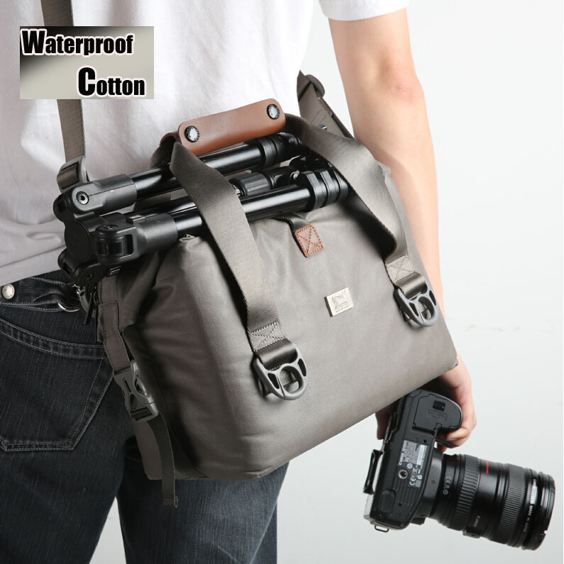 W738 Men Women Professional Waterproof Cotton Canvas Genuine leather Shoulder Photo Camera Case Bag For Canon Nikon Sony