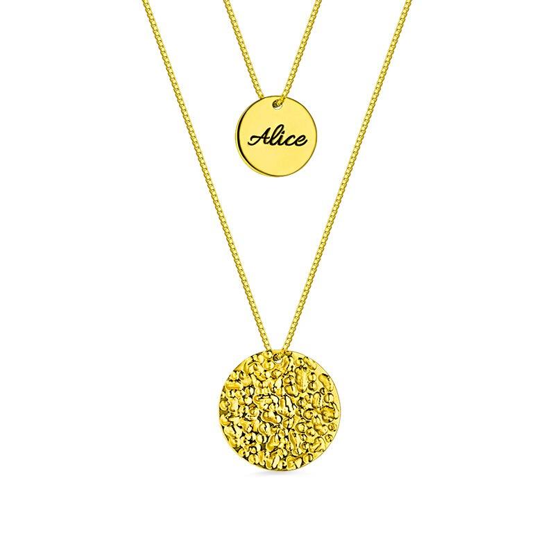 Colliers de disque nominatif personnalisés à 2 couches en couleur or pour Lady Initial et nom pendentif gravé pour femmes cadeau de noël