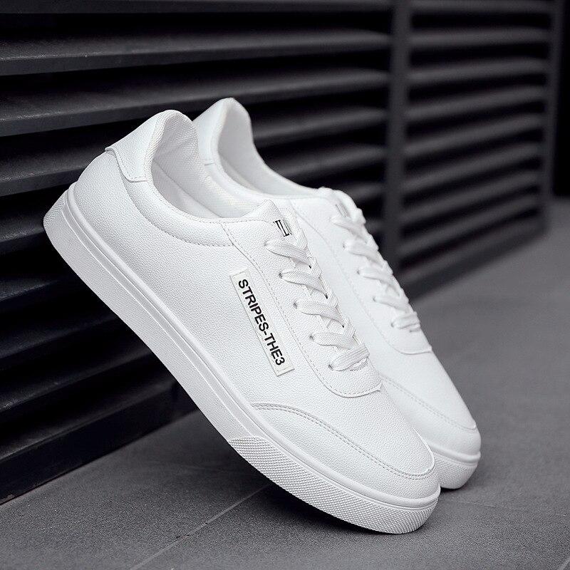 nuevas variedades mejor venta diseño exquisito € 12.77 35% de DESCUENTO 2018 nuevos zapatos blancos de moda para Hombre  Zapatos casuales con cordones tenis masculino zapatos cómodos para caminar  ...