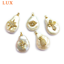 Natural Pearl cubic zirconia pendant White Coin Pearl micro CZ pave copper charm gold color plated DIY necklace jewelry findings цена в Москве и Питере